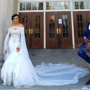 Plus Size Mermaid Wedding Dresses with Long Cape 2020 Sparkly Crystal Beaded Lace African Nigerian Garden Bride Wedding Gowns