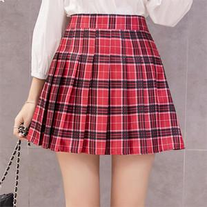 Estilos japoneses clássico Plaid Saia de cintura alta plissada Skater Skirt A-Line School Shorts internos uniformes Casual Skinny