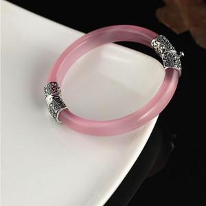 925 Sterling Silver Bracelet White Opal Bangle Vintage Thai Silver Crystal Opening Bracelet Fashion Korean Version