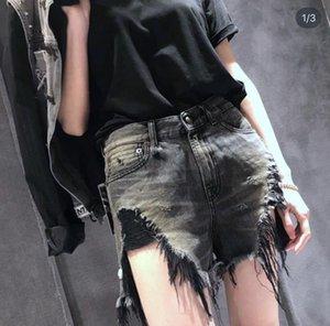 Verão Mulheres RI3 calções de moda menina fresca do estilo furo furos Tassel lavado desgastado tamanho asiático calções rebarbas jean menina 25-30 sxff32403bf #
