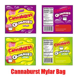 Caliente Cannaburst Gummies Sours Mylar bolsa de 500 mg a prueba de niños Edibles Vacío de almacenamiento de bolsa de la cremallera al por menor para en seco de la hierba paquete flor del tabaco