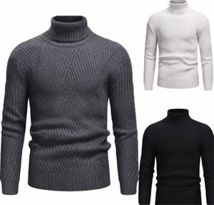 Collo a righe stampato Mens Tops Inverno Abbigliamento lavorato a maglia solido Color Designer Mens Maglioni Turtle