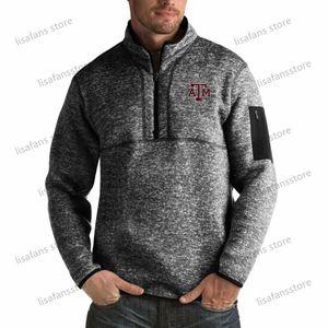 Texas AM Аггис пуловер Кофта мужского Форчун Big Tall Quarter-Zip Pullover Жакеты прошитых Американского футбол Спорт толстовка