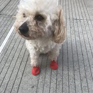 zapatos del animal doméstico Botas Calcetines medio del perro de lluvia zapatos impermeables zapatos antideslizante de goma perrito para perros mascotas Suministros Promoción