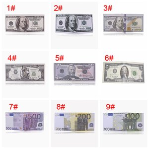 Kreative Gelddrucken Wallet Reißverschluss Faltbare Short Mappen-Speicher-Dollar Sterling Euro Rubel Muster Compartment Geldbörse VT1595 T03