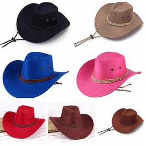 Occidental unisex sombreros de vaquero de los hombres retro parasol Knight sombrero de vaquera ala ancha sombreros de verano al aire libre Turismo Headwear LJJ_TA833