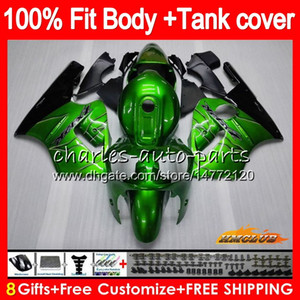 Inyección para Kawasaki ZX 12R 1200 cc ZX1200 ZX12R llamas verdes 02 03 04 05 06 52HC.2 ZX 12 R ZX12R 2002 2003 2004 2005 2006 OEM carenados