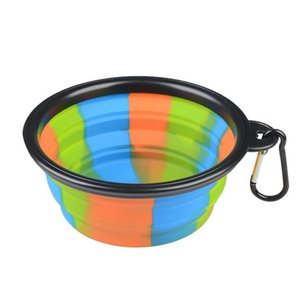 DHL Camouflage Silicone Folding Bowl with hook Pet Feeding Bowl Dog Cat Travel Collapsible Water Dish Feeder Foldable Outdoor Supplies nx