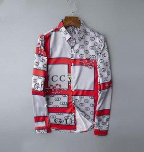 Floreale Fiori nuovi uomini di stampa camice Mens Business casual abito camicia Uomini Camicie maniche lunghe di lusso Camicia # 0809