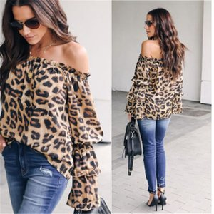 Trendy Women clothes Lady Leopard Print Long Sleeve Loose T-Shirts Off Shoulder Polyester pullover Tops one pieces