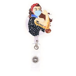 10pcs Super Women Nurse Hero Retractable Badge Holder Rhinestone Bling For Nurse Gift ID Card Name Pull Reels With Clip