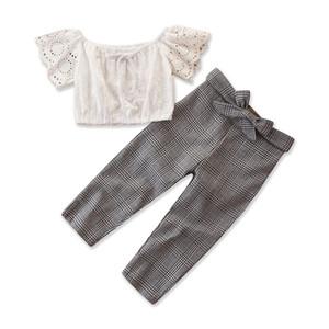 2019 Новый США Малышей Новорожденных Девочек Случайные Плед Ткань Набор Жилет Топы + Длинные Брюки Летний Костюм Одежда Костюмы Sunsuit