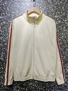 20FW Printing Mantel Panelled Rote und grüne Streifen Abzeichen Herren-Beige Mock Neck jacketMan Frauen Paar Jacken zdl0607.