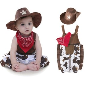 2019 New Toddler Newborn Baby Boy Girl Clothing Set Infant Cowboy Clothes hat+scarf+romper Carnival Fancy Dress Party Costume