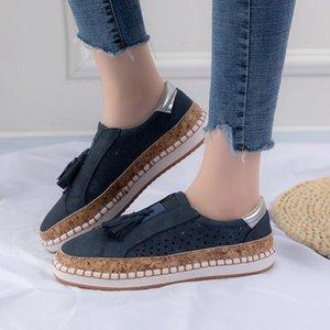 Pisos de coser las mujeres de la borla de la mujer plana de la plataforma de las mujeres ocasionales ahueca hacia fuera los zapatos de las señoras de Flock Mujer cómoda de tamaño holgazán Plus