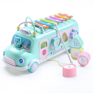 Baby Kind Pop Musik Puzzle Multifunktions Bus Block Knock Hammer Musik Baby Musikinstrument Spielzeug