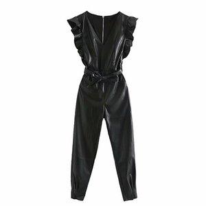 Cuoio elegante PU increspature dei telai delle donne delle tute di modo del nero con scollo a V tuta sleeveless elegante tute delle signore