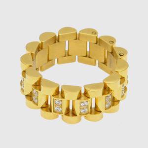 Хип-хоп Золото и серебро из нержавеющей стали CZ кубический цирконий цепи кольцо диапазона Hollowed палец кольцо Rapper Lovers ювелирные подарки для мужчин и женщин