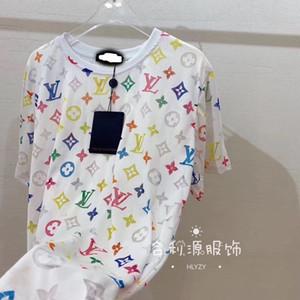 À manches courtes étudiantes version coréenne de la couleur de la personnalité féminine T-shirt loose impression chemise bas 2020 chemise ressort à manches courtes
