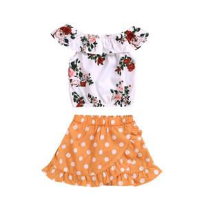 Cabritos del niño de la niña de sunsuit princesa ropa de vestir verano de las muchachas Tops impresión Crop + Punto corto vestido de traje ropa 2pcs BY0826