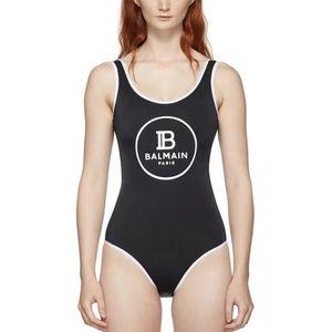 Estilos Balmain traje de baño de verano empujan hacia arriba la tapa del halter del traje de baño atractivo de las mujeres una pieza de baño Conjoined Monokini Negro Blanco baño bikini