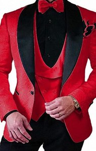 Fashion Red Embossing Groom Tuxedos Shawl Lapel Bridegroom Blazer Men Formal Suits Prom Party Suits (Jacket+Pants+Tie+Vest) 66