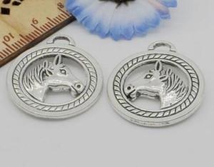 Encantos de cabeza de caballo Colgantes de plata tibetanos 28x25mm Ajuste de joyería europea Resultados Pulsera Collar Pendientes Hombres Mujeres 100pcs