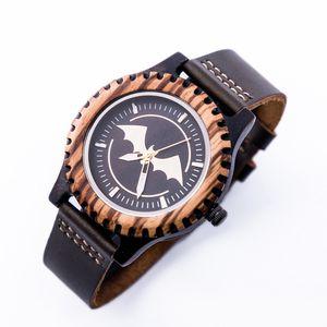 New Bamboo Batman Watches Men Leather Quartz Sport Wood Wrist Watch Relogio Masculino