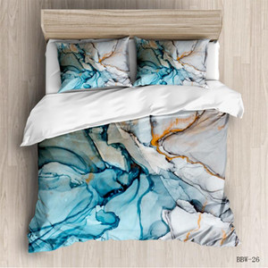 Marmor Blaue Farbe Bettwäsche Geometrische Bettbezug Bohemia Bettwäsche Felsen-Stein-Trendy Bettbezug Natur Bedspread 3pcs