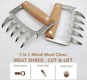 2020010629 Meat Clows * 2pcs+3 supplies Shredder Bbq Bear Stainless Steel Set Metal سحبت لحم الخنزير الدجاج المشوي مخالب الخشب