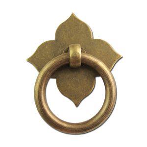 2sets door or furniture pull brass copper drawer Knobs Clover Handles ornate swing