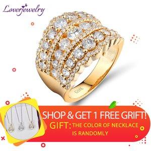 Loverjewelry Wedding Band Ring 18 k oro giallo di lusso reale diamanti anello per le donne anelli di fidanzamento partito regalo di san valentino J190714