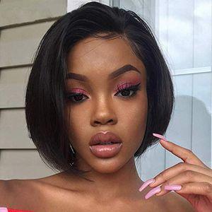 Glueless Volle Spitze Echthaar Perücke Pre Zupferte Vordere Perücken mit Babyhaar für Schwarze Frauen Kurze Gerade Bob Brasilianisches Remy Haar