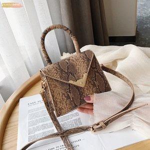 Bags For Women 2020 Fashion Small Square Bag Snake Print Mini Handbags Niche Designer Tote Bag Pu Leather Shoulder Bags