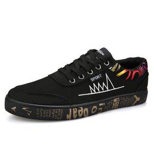 New Men's Vulcanize Shoes Print Lace-up Non-slip Canvas Shoes Black Fashion SFG13