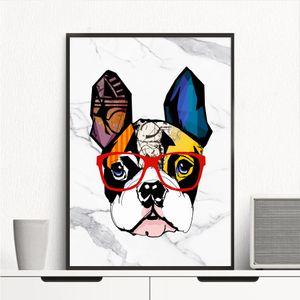 Moderne handgemalte HD Print abstrakte Marmor Bulldog Animal Art Ölgemälde auf Leinwand Wand Kunst Home Decor hohe Qualität A72