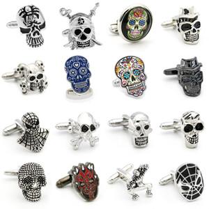 Gemelos de calavera de envío gratis 28 diseños de esqueleto vintage Gemelos de diseñador para hombres al por mayor