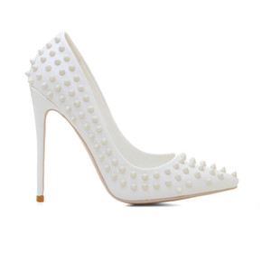 2019 new lady's Fashion High Heel Lady's Shoe Party wedding dance sexy white high heeled shoes with rivet