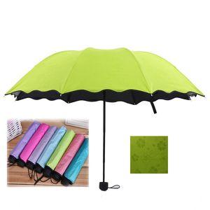 المياه المزهرة للطي قلم رصاص مظلة للنساء مظلة سيدة الشمس المطر والعتاد البارسول رقيقة جدا ضوء الصلبة مظلة المطر DBC VT0242