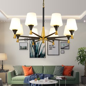 American Living Room Decoration Light Minimalist led Chandelier Personality Home Dining Room Pendant Lamp Creative Hotel Bedroom Glass light