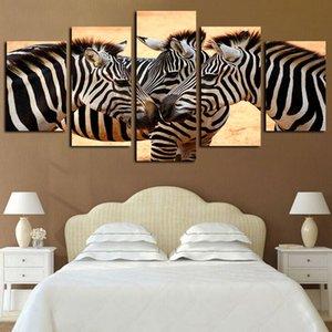 5 Panneaux animaux Zebra Mane Peinture Oeuvres Giclee Canvas Wall Art pour Home Decor Affiche abstraite Toile Impression Peinture à l'huile