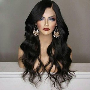 Cheap Black Body Wave Synthetic Lace Front Wig 180% Density Heat Resistant wavy wig with baby hair side part Wigs For Black Women