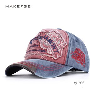Season 2019 tiger head embroidery male and female neutral baseball cloth made old cap hat