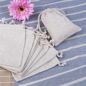 10 unids lazo de tela de algodón de lino bolsa de tela 50 unids bolsas de caramelo de arpillera natural boda favor de la bolsa de regalo bolsas de yute
