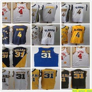 2020 New Indiana Basketball Victor 4 Oladipo Jerseys Stitched Retro Reggie 31 Miller Jerseys Gray Blue White Yellow Black Shirt Best Quality