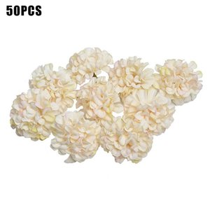 50pcs Hydrangea Heads Craft Easy Apply Festive Artificial Flowers Party Silk Dried Ornaments DIY Home Practical Wedding Decor