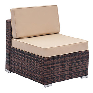 Outdoor Furniture Sectional Sofa Single Sofa All-Weather Brown PE Wicker with Patio Fully Equipped Weaving Rattan Sofa USA From Ship