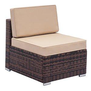 Gartenmöbel Sectional Sofa Einzel Sofa Allwetter Brown PE Wicker mit Patio Fully Weaving Rattan Sofa USA vom Schiff Ausgerüstet