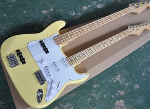 Пользовательские Оптовая 4 + 6 Строка Желтый / Natural Wood Double Neck электрическая гитара с белой накладкой, Maple грифа, заказные службы