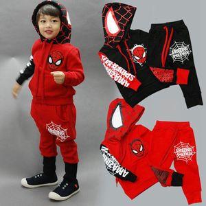 Equipos para niños Boy Spiderman muchachos del niño sudadera con capucha pantalones 2pcs sistemas de manga larga Ropa para Niños Ropa para Niños Establece 2 diseños OL06